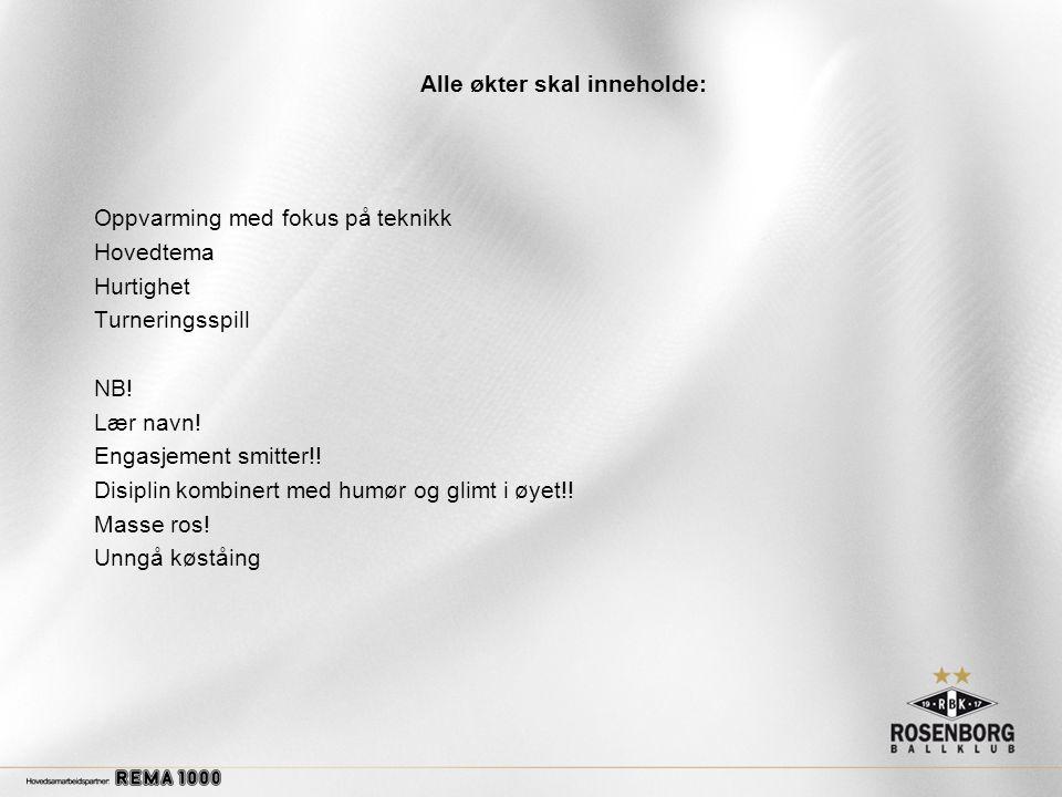 Alle økter skal inneholde: Oppvarming med fokus på teknikk Hovedtema Hurtighet Turneringsspill NB.