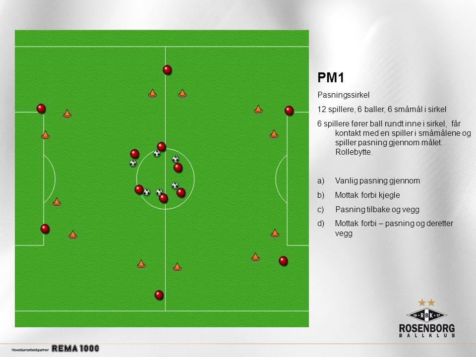 PM1 Pasningssirkel 12 spillere, 6 baller, 6 småmål i sirkel 6 spillere fører ball rundt inne i sirkel, får kontakt med en spiller i småmålene og spiller pasning gjennom målet.