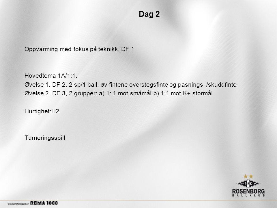 Dag 2 Oppvarming med fokus på teknikk, DF 1 Hovedtema 1A/1:1.