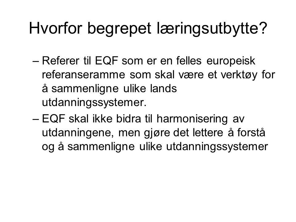 Hvorfor begrepet læringsutbytte? –Referer til EQF som er en felles europeisk referanseramme som skal være et verktøy for å sammenligne ulike lands utd