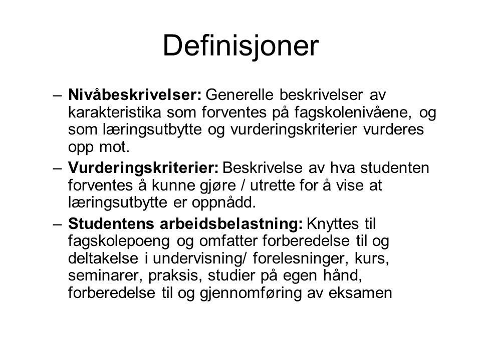 Definisjoner –Nivåbeskrivelser: Generelle beskrivelser av karakteristika som forventes på fagskolenivåene, og som læringsutbytte og vurderingskriterie