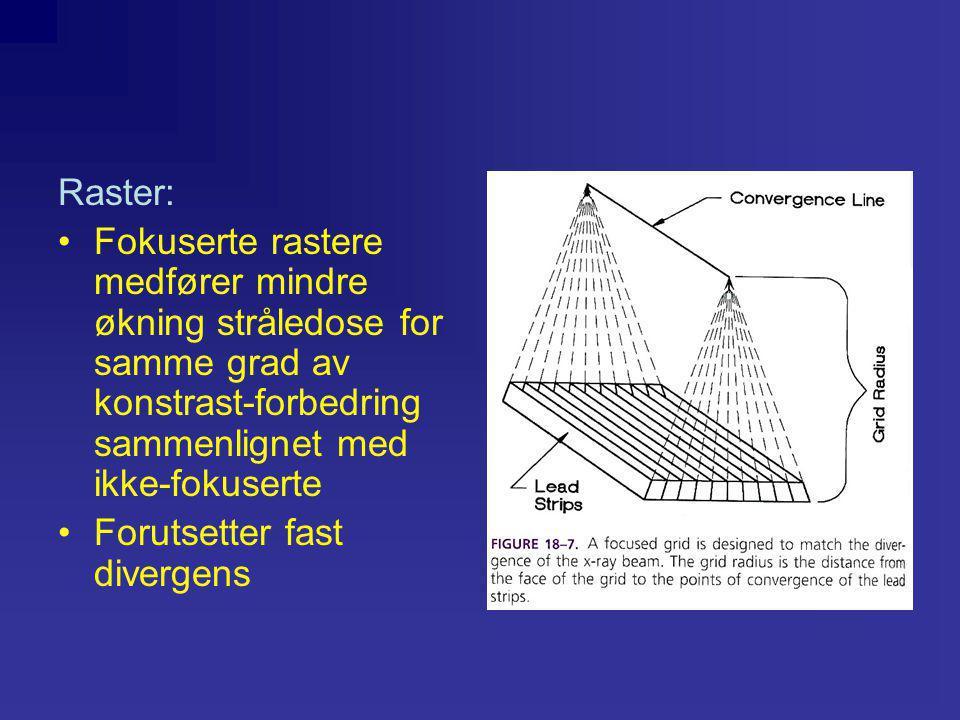 Raster: •Fokuserte rastere medfører mindre økning stråledose for samme grad av konstrast-forbedring sammenlignet med ikke-fokuserte •Forutsetter fast divergens