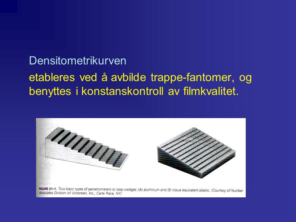 Densitometrikurven etableres ved å avbilde trappe-fantomer, og benyttes i konstanskontroll av filmkvalitet.
