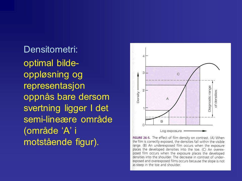 Densitometri: optimal bilde- oppløsning og representasjon oppnås bare dersom svertning ligger I det semi-lineære område (område 'A' i motstående figur).