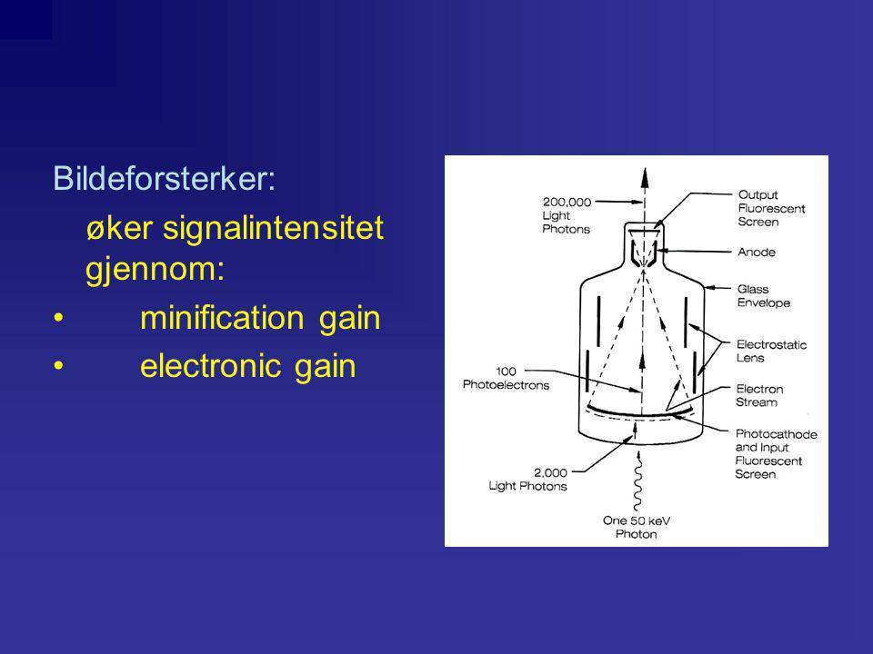 Bildeforsterker: øker signalintensitet gjennom: •minification gain •electronic gain