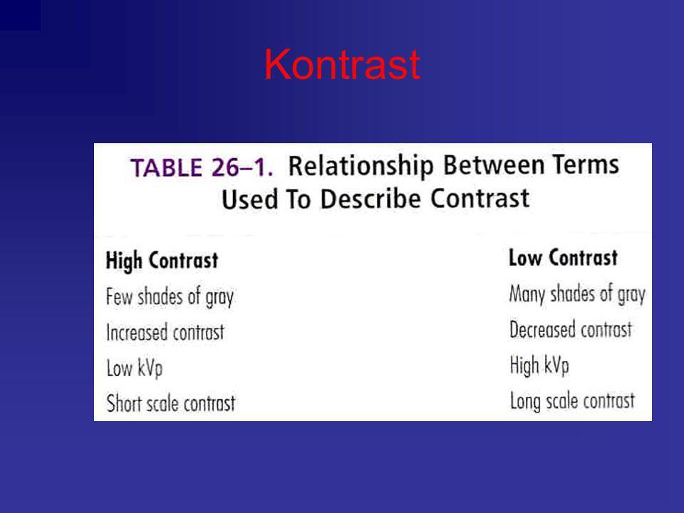 Kontrast påvirkes av: •kVp •Pasientvolum og projeksjon •Bruk av raster •Air-gap Kontrast: Kont.=I 1 /I 2 Radiografisk kontrast (RK): RK=OD 1 /OD 2