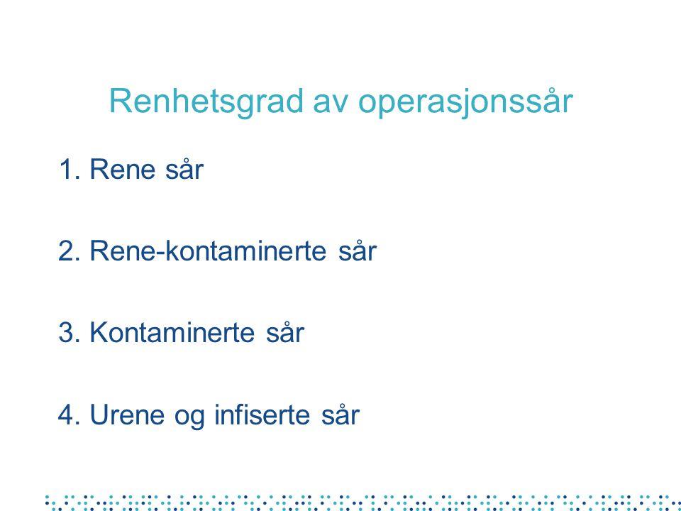 Renhetsgrad av operasjonssår 1. Rene sår 2. Rene-kontaminerte sår 3. Kontaminerte sår 4. Urene og infiserte sår
