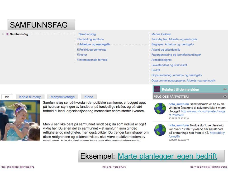 ndla.no - versjon 2.0Nasjonal digital læringsarenaNorwegian digital learning arena SAMFUNNSFAG Eksempel: Marte planlegger egen bedriftMarte planlegger