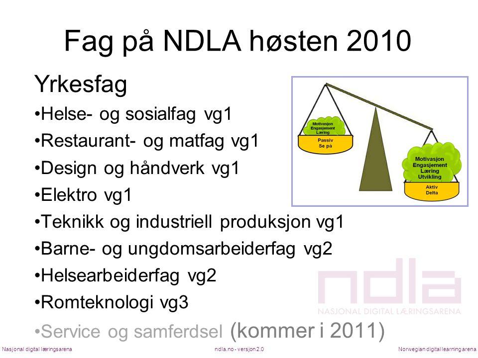 Fag på NDLA høsten 2010 Yrkesfag •Helse- og sosialfag vg1 •Restaurant- og matfag vg1 •Design og håndverk vg1 •Elektro vg1 •Teknikk og industriell prod