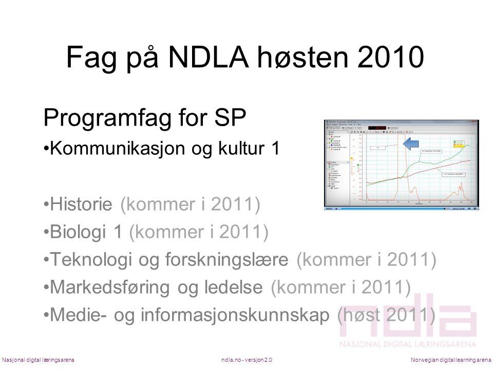 Fag på NDLA høsten 2010 Programfag for SP •Kommunikasjon og kultur 1 •Historie (kommer i 2011) •Biologi 1 (kommer i 2011) •Teknologi og forskningslære