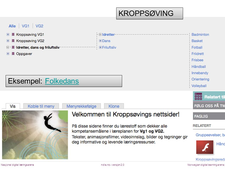 ndla.no - versjon 2.0Nasjonal digital læringsarenaNorwegian digital learning arena KROPPSØVING Eksempel: FolkedansFolkedans Eksempel: FolkedansFolkeda