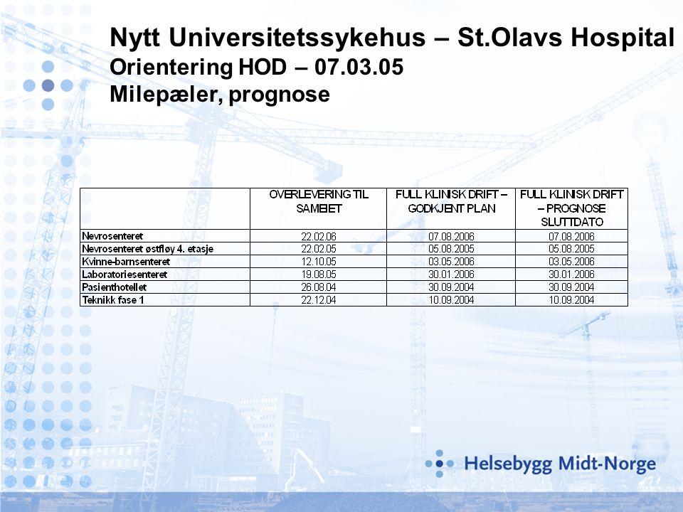 Nytt Universitetssykehus – St.Olavs Hospital Orientering HOD – 07.03.05 Milepæler, prognose