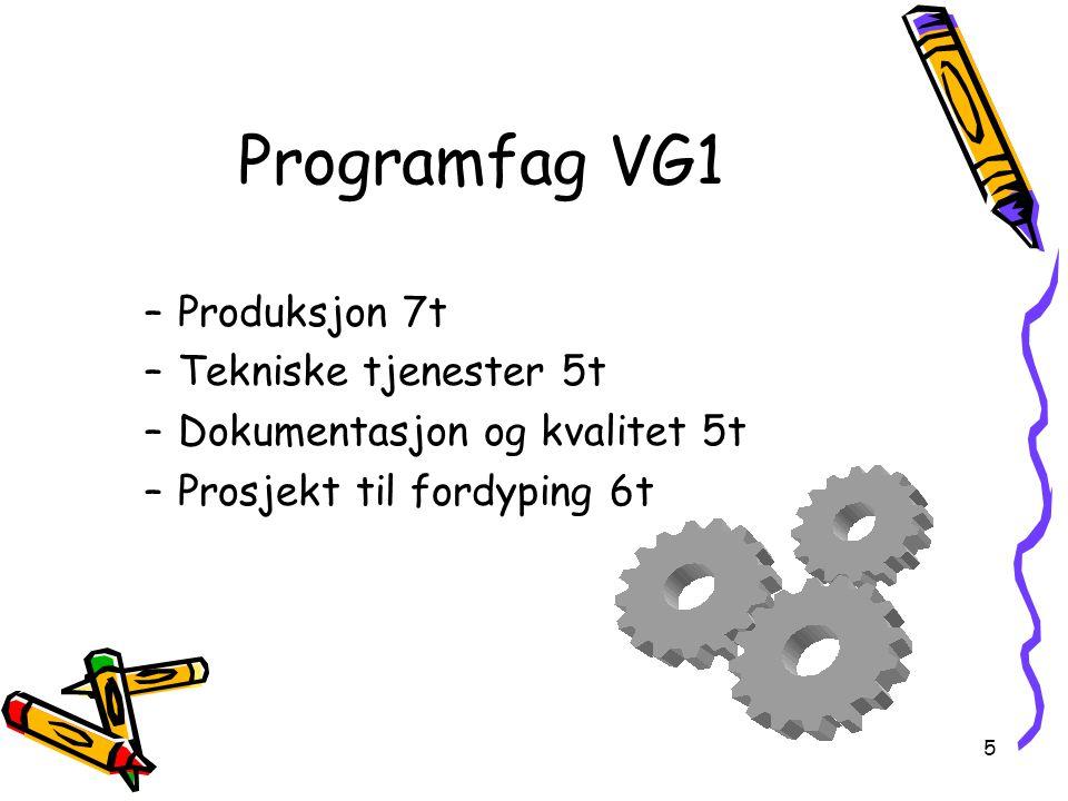5 Programfag VG1 –Produksjon 7t –Tekniske tjenester 5t –Dokumentasjon og kvalitet 5t –Prosjekt til fordyping 6t