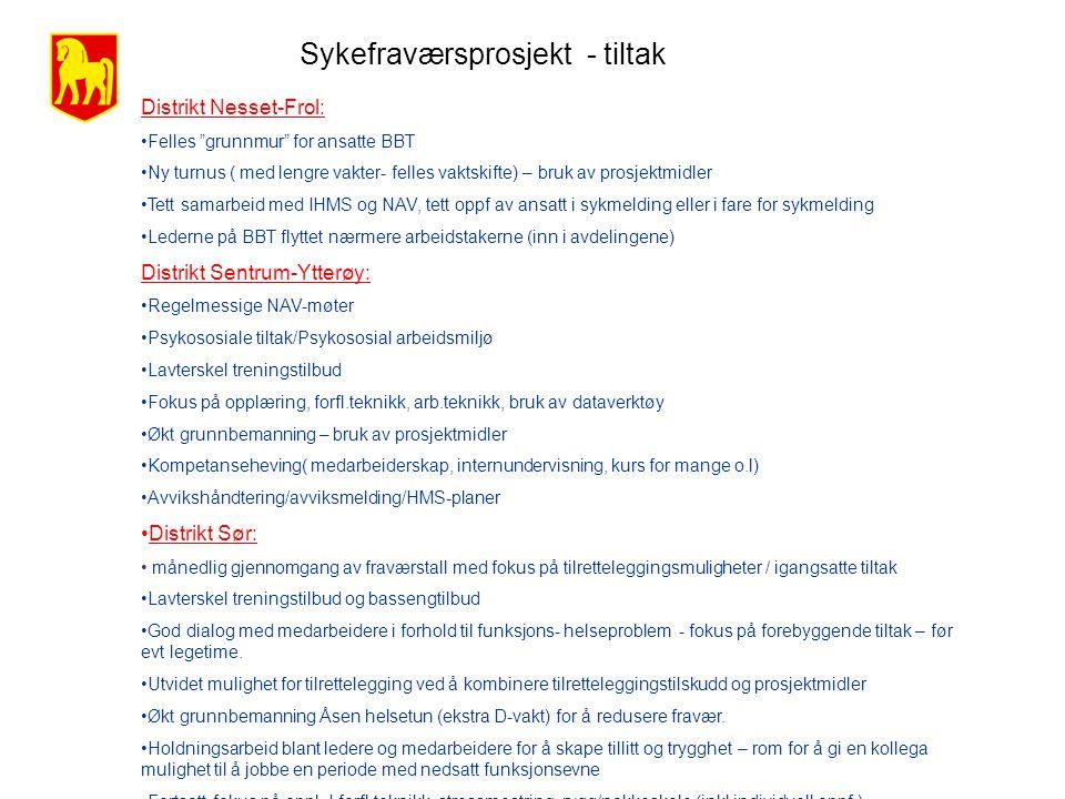 """Sykefraværsprosjekt - tiltak Distrikt Nesset-Frol: •Felles """"grunnmur"""" for ansatte BBT •Ny turnus ( med lengre vakter- felles vaktskifte) – bruk av pro"""