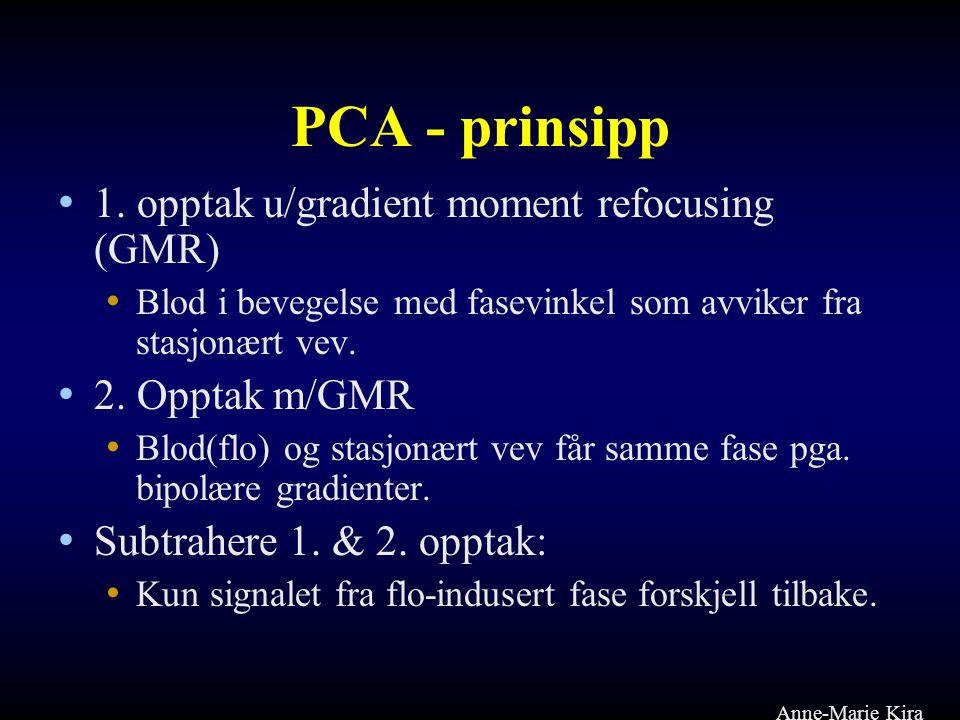 PCA - prinsipp • 1. opptak u/gradient moment refocusing (GMR) • Blod i bevegelse med fasevinkel som avviker fra stasjonært vev. • 2. Opptak m/GMR • Bl