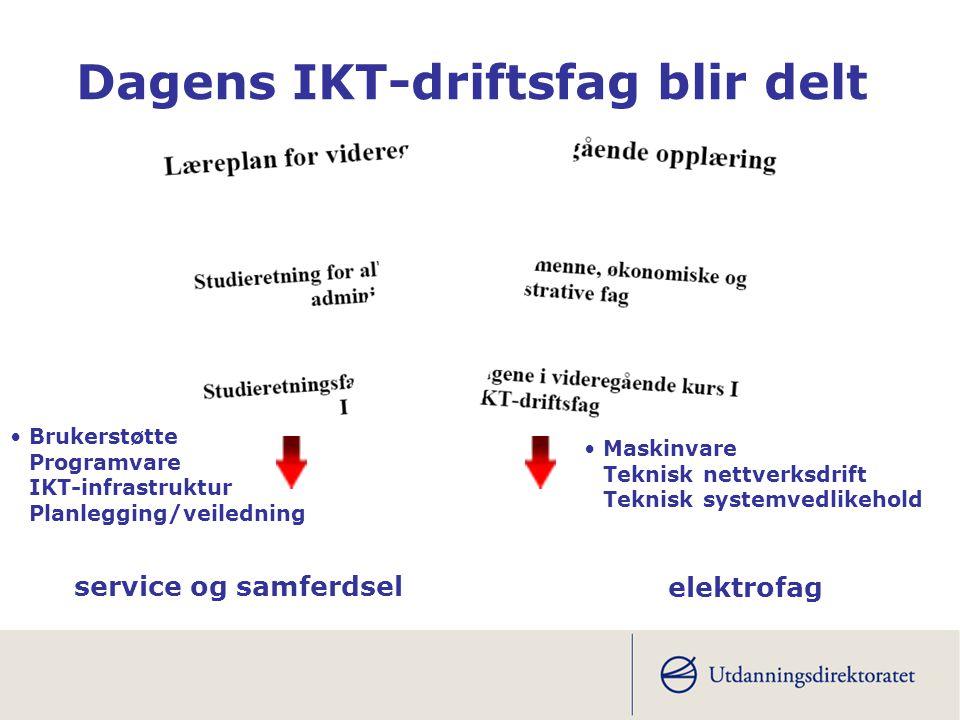 Dagens IKT-driftsfag blir delt service og samferdsel elektrofag •Brukerstøtte Programvare IKT-infrastruktur Planlegging/veiledning •Maskinvare Teknisk