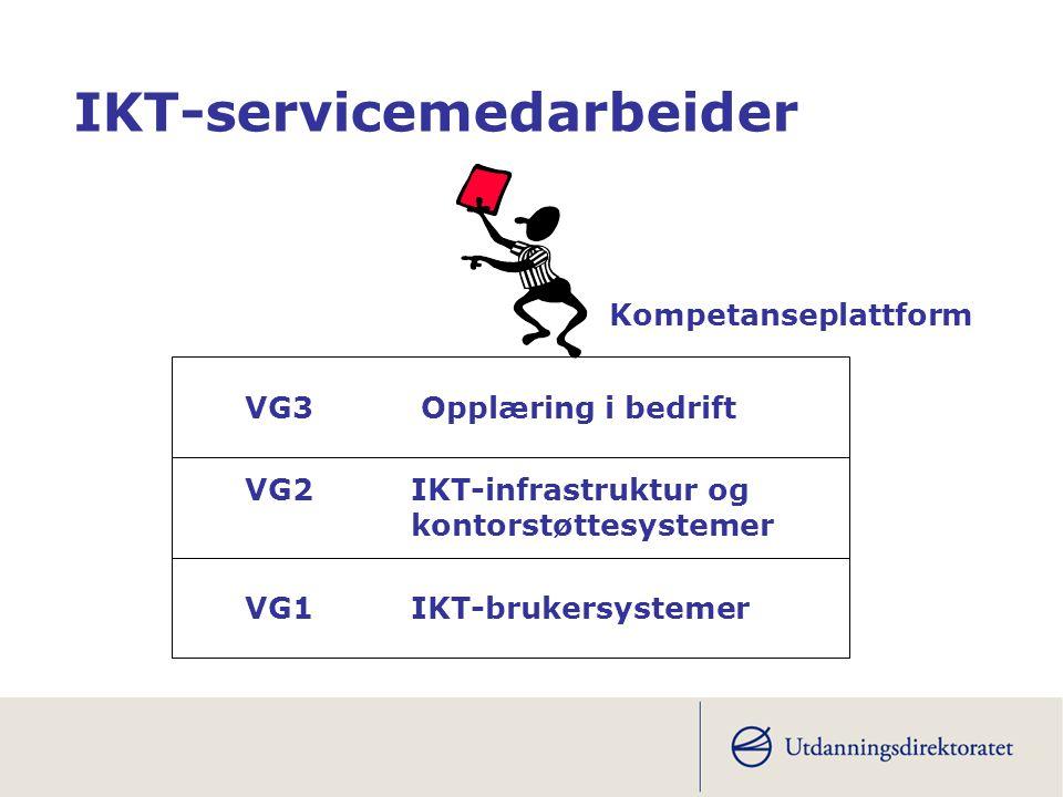 VG1 IKT-brukersystemer VG2 IKT-infrastruktur og kontorstøttesystemer VG3 Opplæring i bedrift IKT-servicemedarbeider Kompetanseplattform