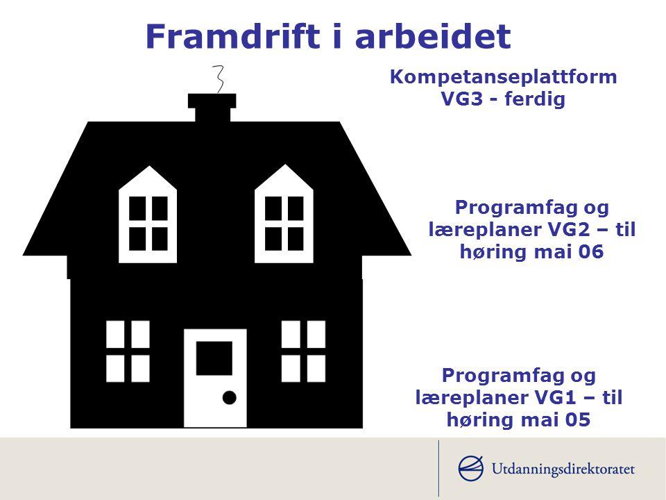 Framdrift i arbeidet Kompetanseplattform VG3 - ferdig Programfag og læreplaner VG1 – til høring mai 05 Programfag og læreplaner VG2 – til høring mai 0