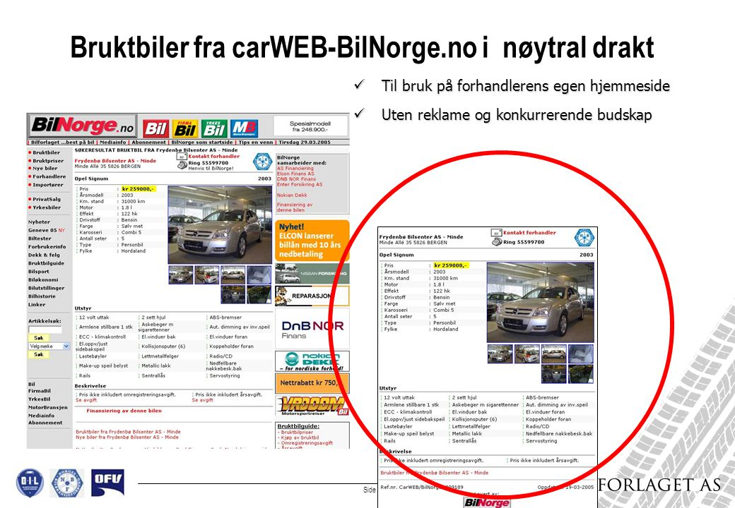 Side 4 Bruktbiler implementeres i egen hjemmeside:  Egne biler på egen hjemmeside uten ekstra ARBEID, TID eller KOSTNAD  All oppdatering skjer automatisk i carWEB og overføres fra BilNorge.no til forhandlerens hjemmeside daglig