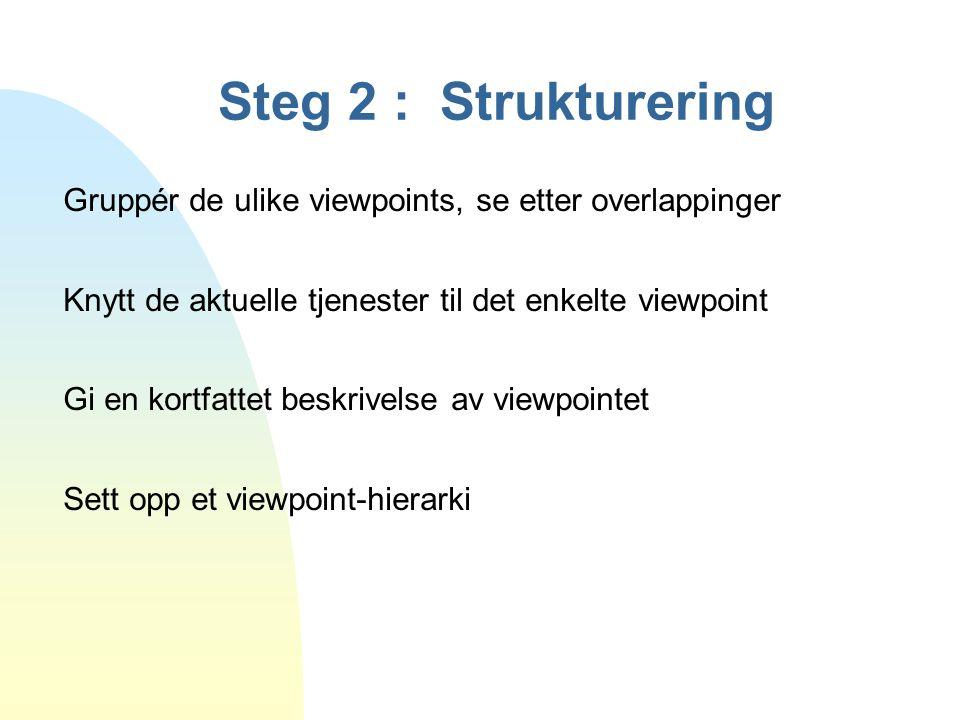 Steg 2 : Strukturering Gruppér de ulike viewpoints, se etter overlappinger Knytt de aktuelle tjenester til det enkelte viewpoint Gi en kortfattet besk