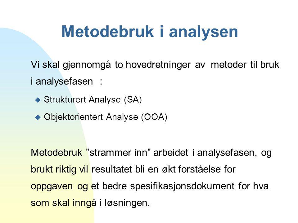 Metodebruk i analysen Vi skal gjennomgå to hovedretninger av metoder til bruk i analysefasen : u Strukturert Analyse (SA) u Objektorientert Analyse (O