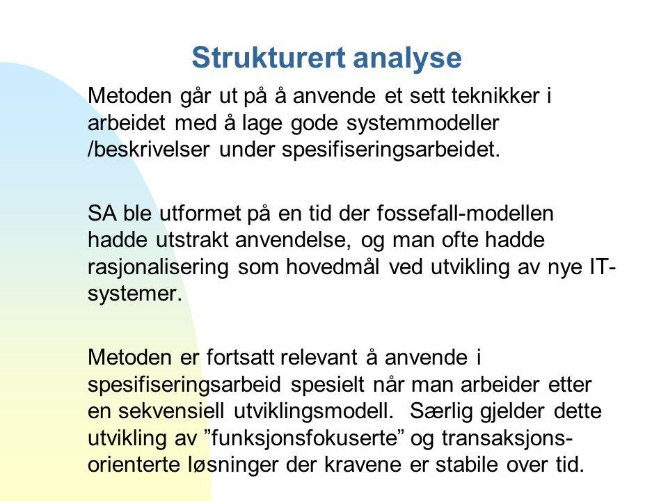 Strukturert analyse Metoden går ut på å anvende et sett teknikker i arbeidet med å lage gode systemmodeller /beskrivelser under spesifiseringsarbeidet