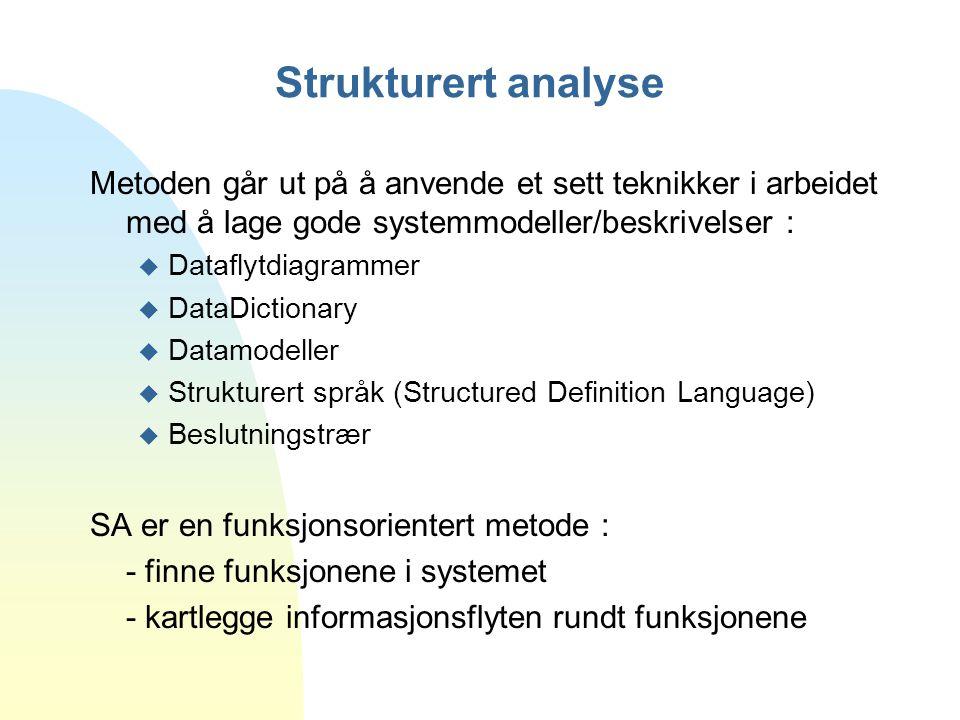 Strukturert analyse Metoden går ut på å anvende et sett teknikker i arbeidet med å lage gode systemmodeller/beskrivelser : u Dataflytdiagrammer u Data