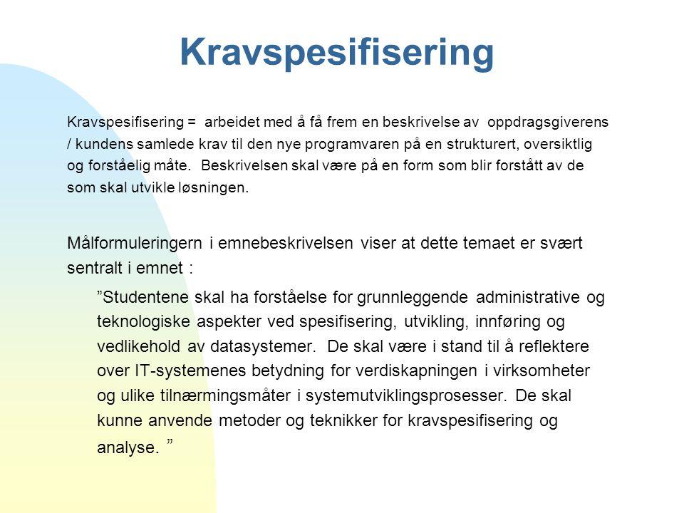 Kravspesifisering Kravspesifisering = arbeidet med å få frem en beskrivelse av oppdragsgiverens / kundens samlede krav til den nye programvaren på en