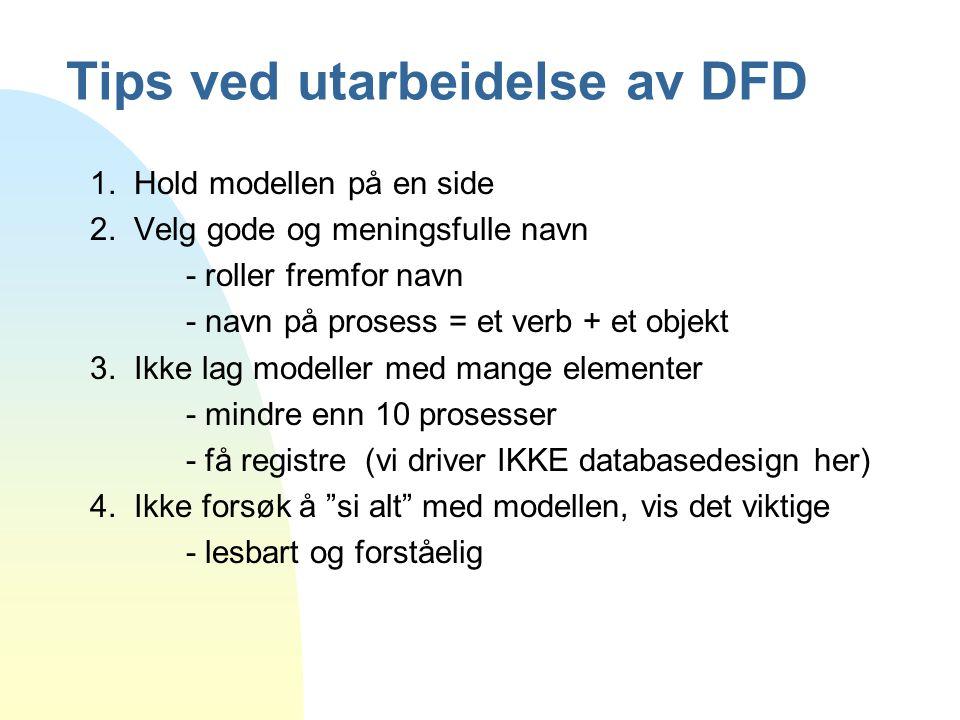 Tips ved utarbeidelse av DFD 1. Hold modellen på en side 2. Velg gode og meningsfulle navn - roller fremfor navn - navn på prosess = et verb + et obje