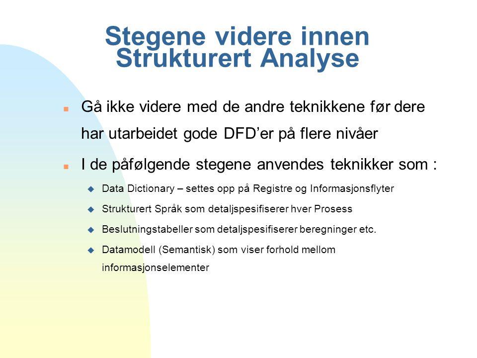 Stegene videre innen Strukturert Analyse n Gå ikke videre med de andre teknikkene før dere har utarbeidet gode DFD'er på flere nivåer n I de påfølgend