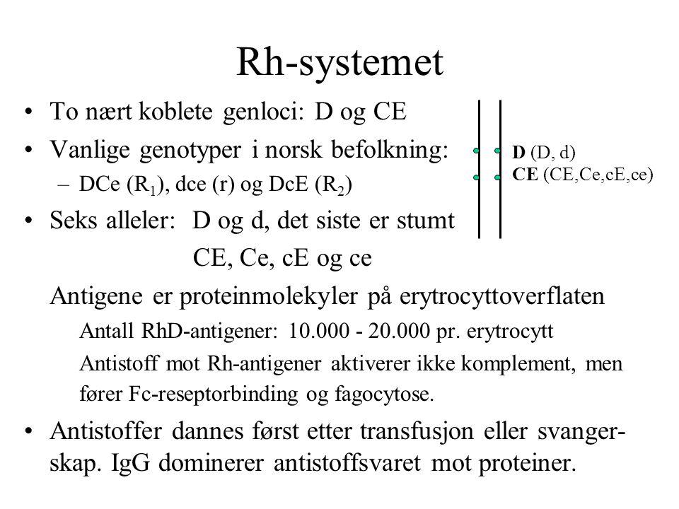 Rh-systemet •To nært koblete genloci: D og CE •Vanlige genotyper i norsk befolkning: –DCe (R 1 ), dce (r) og DcE (R 2 ) •Seks alleler: D og d, det siste er stumt CE, Ce, cE og ce Antigene er proteinmolekyler på erytrocyttoverflaten Antall RhD-antigener: 10.000 - 20.000 pr.