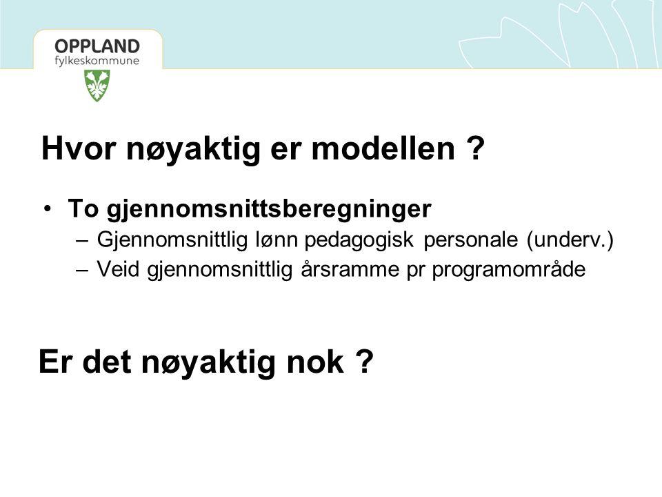 Hvor nøyaktig er modellen ? •To gjennomsnittsberegninger –Gjennomsnittlig lønn pedagogisk personale (underv.) –Veid gjennomsnittlig årsramme pr progra