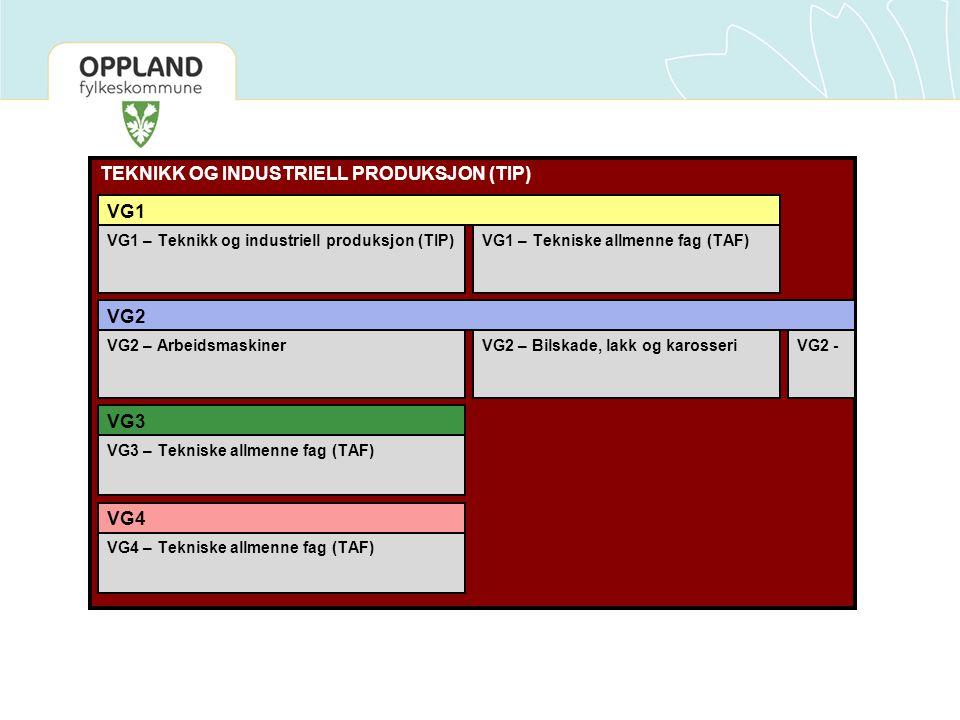 TEKNIKK OG INDUSTRIELL PRODUKSJON (TIP) VG1 – Teknikk og industriell produksjon (TIP) VG1 VG2 VG3 VG4 VG1 – Tekniske allmenne fag (TAF) VG2 – Arbeidsm