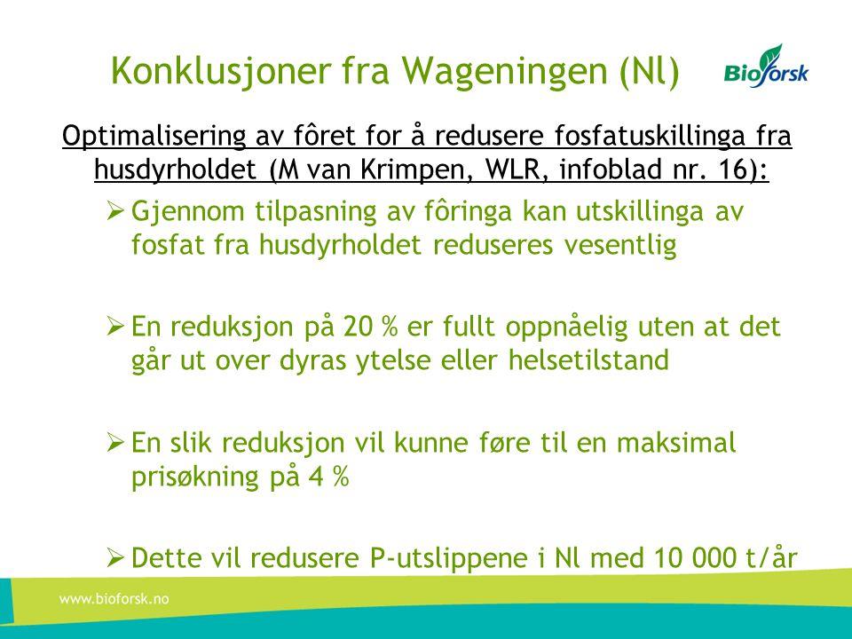 Konklusjoner fra Wageningen (Nl) Optimalisering av fôret for å redusere fosfatuskillinga fra husdyrholdet (M van Krimpen, WLR, infoblad nr. 16):  Gje