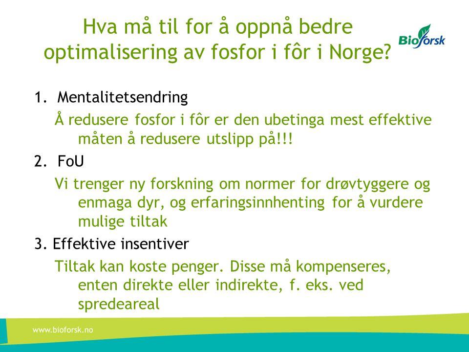 Hva må til for å oppnå bedre optimalisering av fosfor i fôr i Norge? 1.Mentalitetsendring Å redusere fosfor i fôr er den ubetinga mest effektive måten