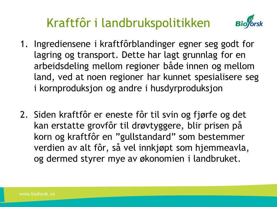 Kraftfôr i landbrukspolitikken 1.Ingrediensene i kraftfôrblandinger egner seg godt for lagring og transport. Dette har lagt grunnlag for en arbeidsdel