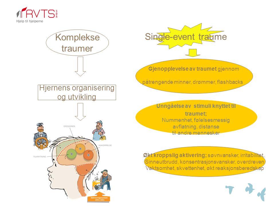 Komplekse traumer Single-event traume Hjernens organisering og utvikling Gjenopplevelse av traumet gjennom påtrengende minner, drømmer, flashbacks Unngåelse av stimuli knyttet til traumet; Nummenhet, følelsesmessig avflatning, distanse til andre mennesker Økt kroppslig aktivering; søvnvansker, irritabilitet, Sinneutbrudd, konsentrasjonsvansker, overdreven Vaktsomhet, skvettenhet, økt reaksjonsberedskap