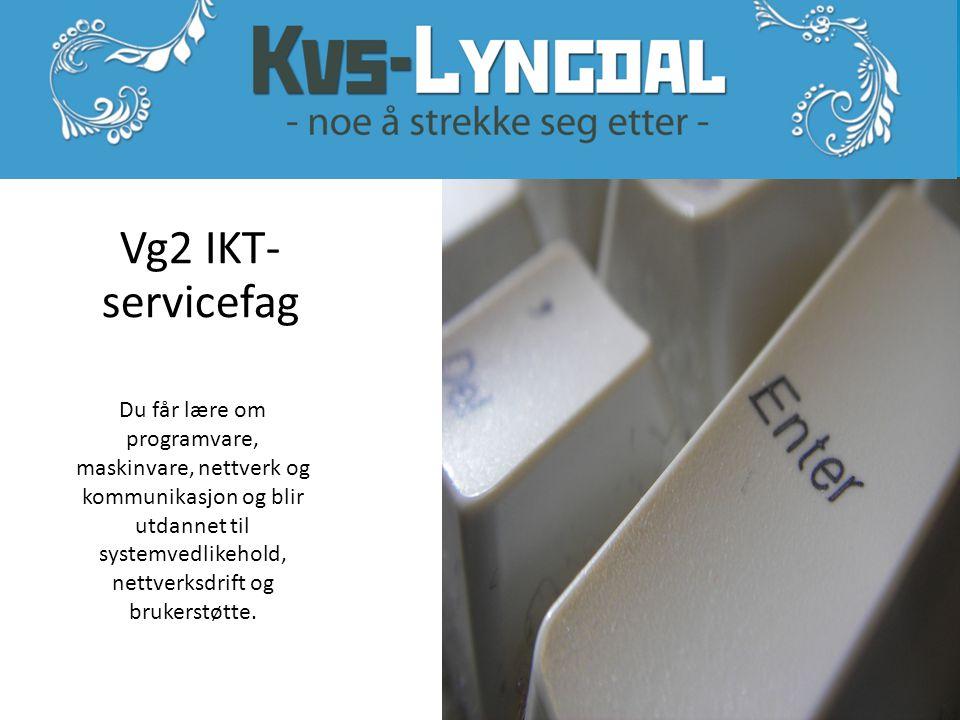 Vg2 IKT- servicefag Du får lære om programvare, maskinvare, nettverk og kommunikasjon og blir utdannet til systemvedlikehold, nettverksdrift og brukerstøtte.
