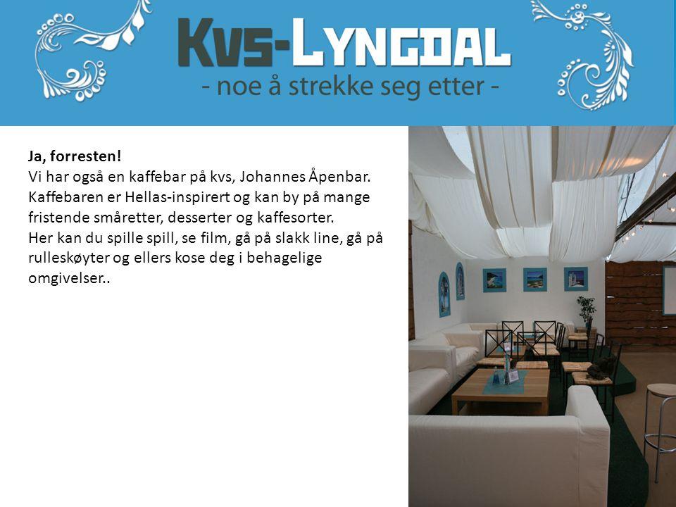 Ja, forresten! Vi har også en kaffebar på kvs, Johannes Åpenbar. Kaffebaren er Hellas-inspirert og kan by på mange fristende småretter, desserter og k