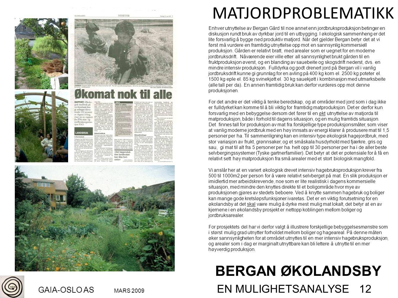 BERGAN ØKOLANDSBY GAIA-OSLO AS MARS 2009 EN MULIGHETSANALYSE 12 MATJORDPROBLEMATIKK Enhver utnyttelse av Bergan Gård til noe annet enn jordbruksproduk