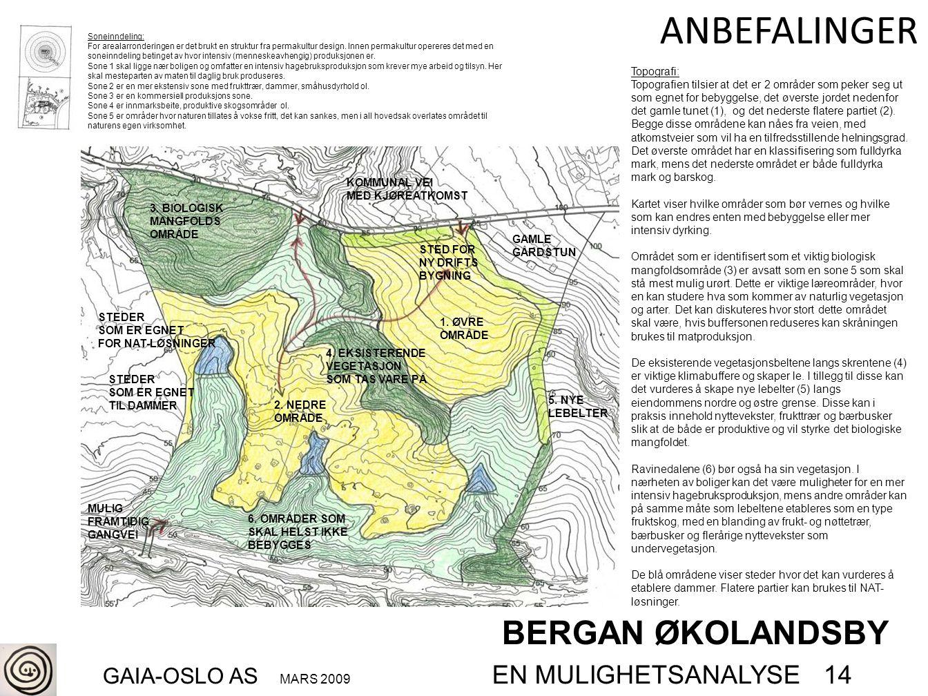 BERGAN ØKOLANDSBY GAIA-OSLO AS MARS 2009 EN MULIGHETSANALYSE 14 ANBEFALINGER Topografi: Topografien tilsier at det er 2 områder som peker seg ut som e