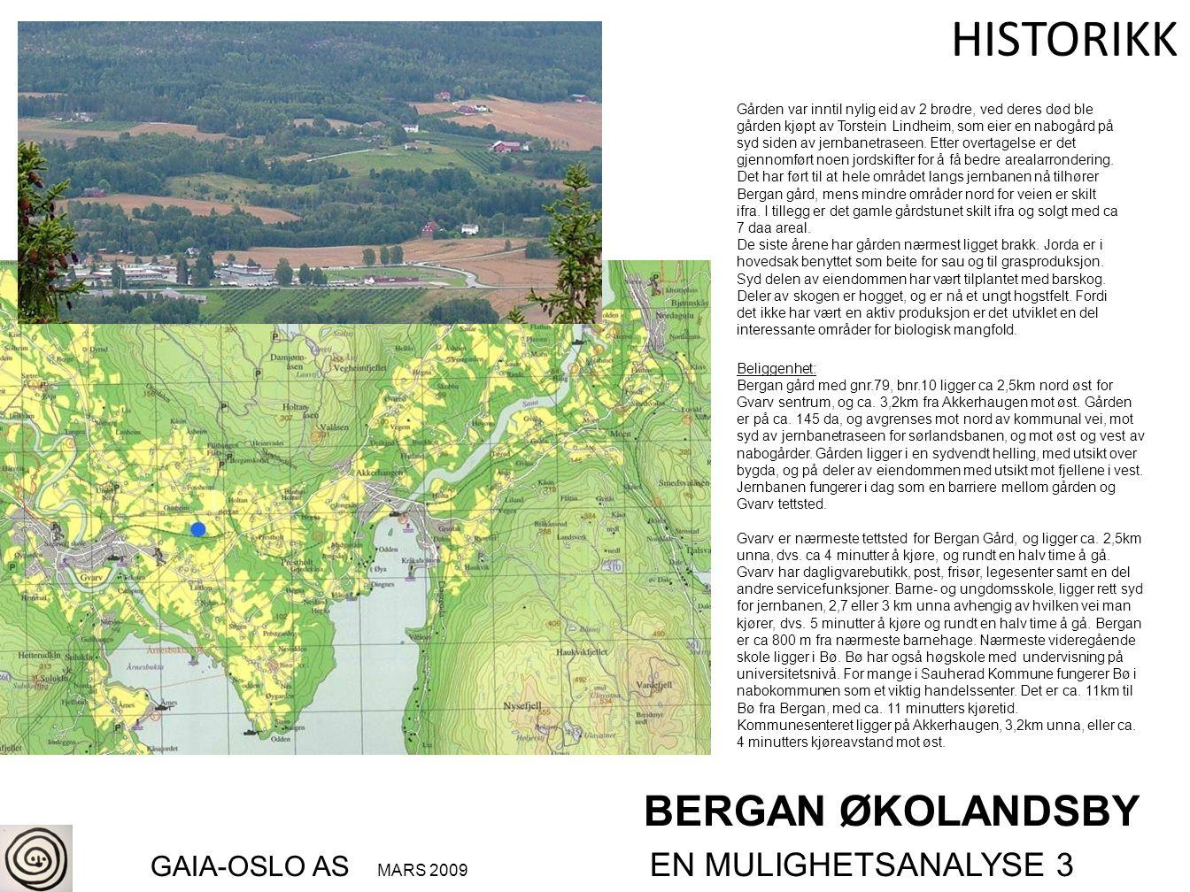 BERGAN ØKOLANDSBY GAIA-OSLO AS MARS 2009 EN MULIGHETSANALYSE 3 HISTORIKK Beliggenhet: Bergan gård med gnr.79, bnr.10 ligger ca 2,5km nord øst for Gvar