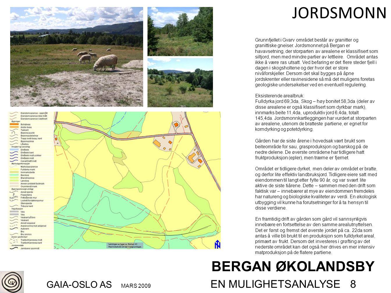JORDSMONN BERGAN ØKOLANDSBY GAIA-OSLO AS MARS 2009 EN MULIGHETSANALYSE 8 Grunnfjellet i Gvarv området består av granitter og granittiske gneiser. Jord