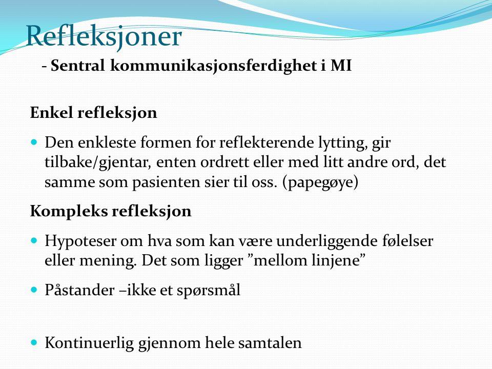 Refleksjoner - Sentral kommunikasjonsferdighet i MI Enkel refleksjon  Den enkleste formen for reflekterende lytting, gir tilbake/gjentar, enten ordrett eller med litt andre ord, det samme som pasienten sier til oss.