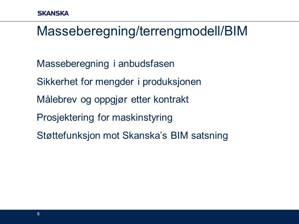 6 Masseberegning/terrengmodell/BIM Masseberegning i anbudsfasen Sikkerhet for mengder i produksjonen Målebrev og oppgjør etter kontrakt Prosjektering