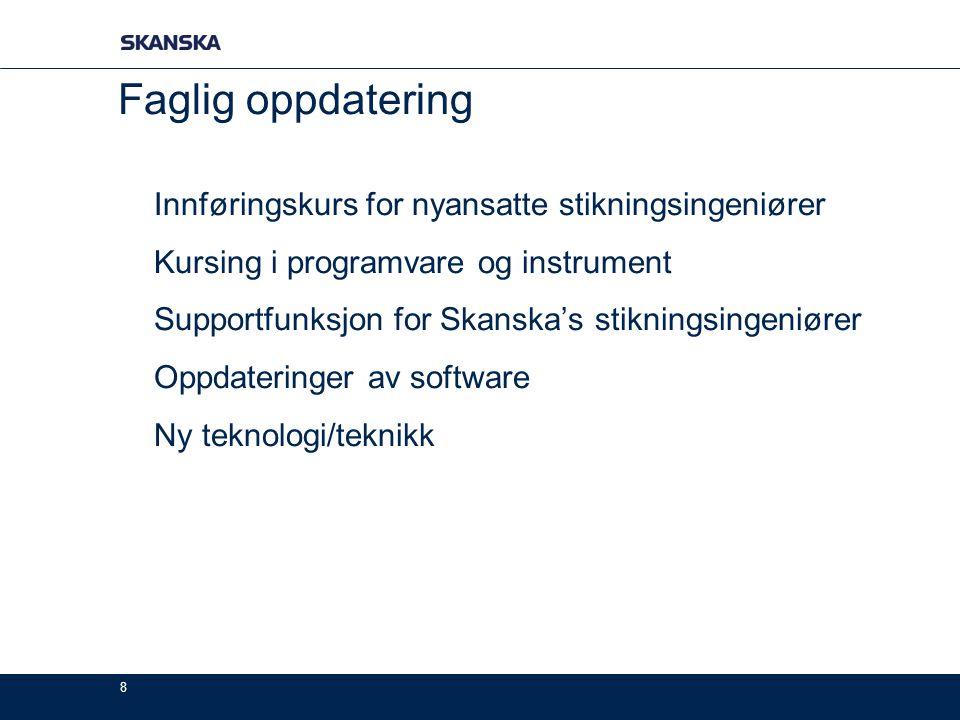 8 Faglig oppdatering Innføringskurs for nyansatte stikningsingeniører Kursing i programvare og instrument Supportfunksjon for Skanska's stikningsingen