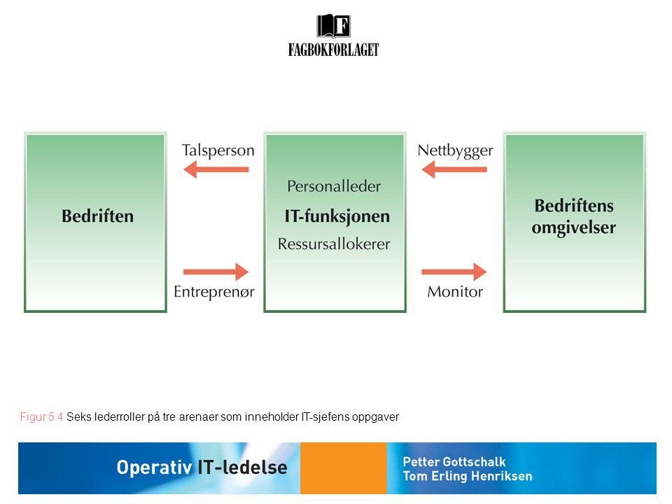 Figur 5.4 Seks lederroller på tre arenaer som inneholder IT-sjefens oppgaver