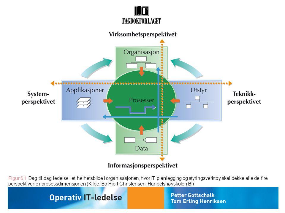 Figur 6.1 Dag-til-dag-ledelse i et helhetsbilde i organisasjonen, hvor IT planlegging og styringsverktøy skal dekke alle de fire perspektivene i prose