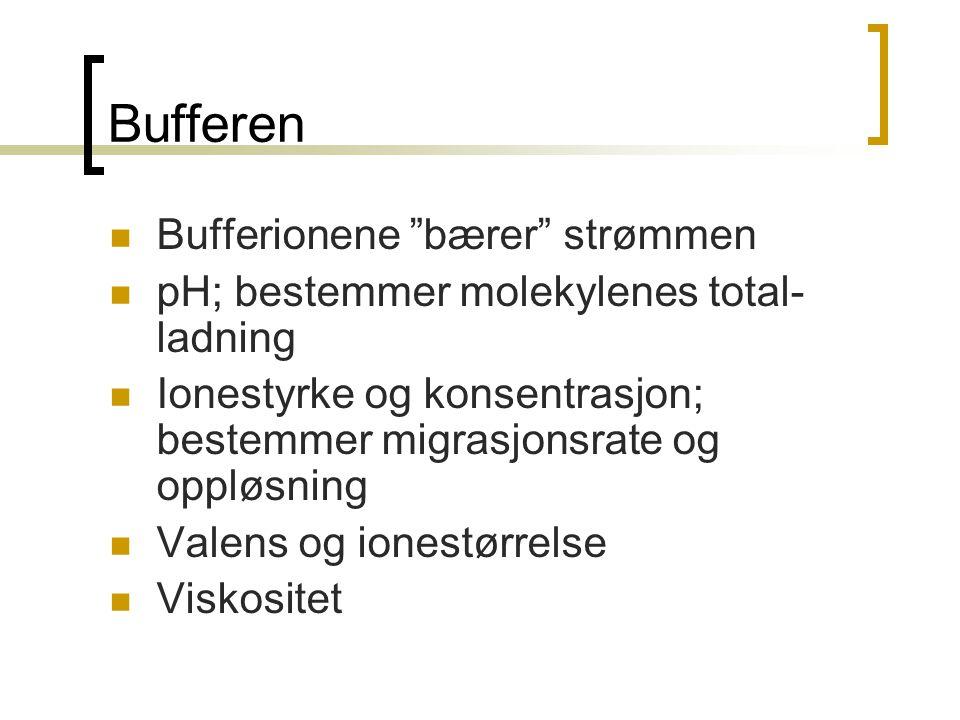 """Bufferen  Bufferionene """"bærer"""" strømmen  pH; bestemmer molekylenes total- ladning  Ionestyrke og konsentrasjon; bestemmer migrasjonsrate og oppløsn"""
