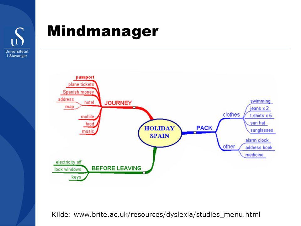 Kilde: www.brite.ac.uk/resources/dyslexia/studies_menu.html Mindmanager